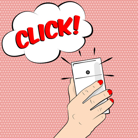 smartphone hand: Smartphone in hand. Close-up. It makes selfie.