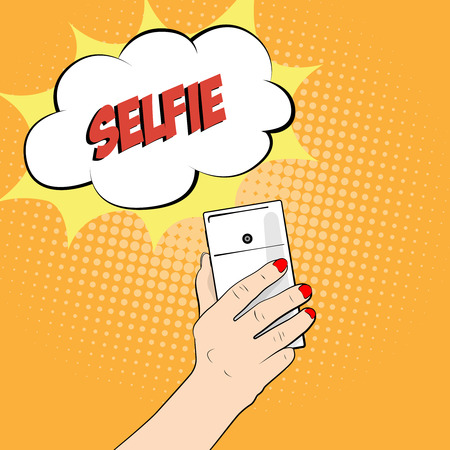 smartphone hand: Smartphone in hand. Close-up. Selfie.