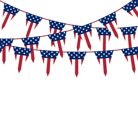 triangle flag: America triangle flag garland. Vector background Illustration