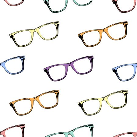 fashion glasses: Seamless pattern with colorful glasses. Vector background