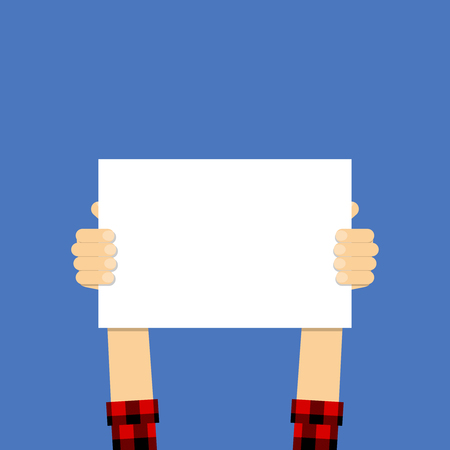 Placard in hands. Vector Illustration flat design style