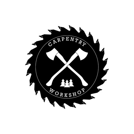 axes: Carpentry workshop logo label with axes. Vector Illustration