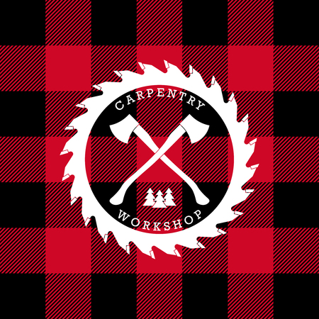 axes: Carpentry workshop logo label with axes. Lumberjack plaid background