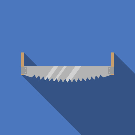 crosscut: Cross cut saw with long shadow. Vector illustration