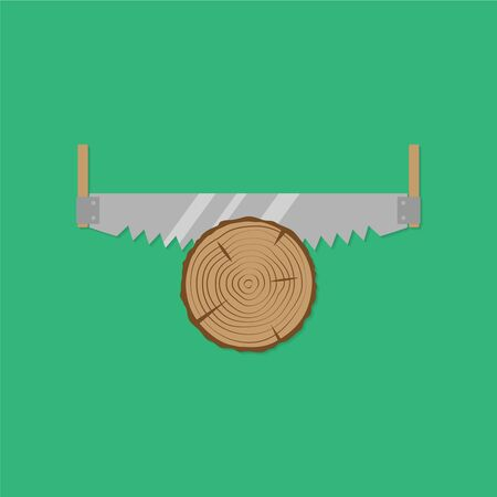 toothed: Cross cut saw. Flat design style. Vector illustration