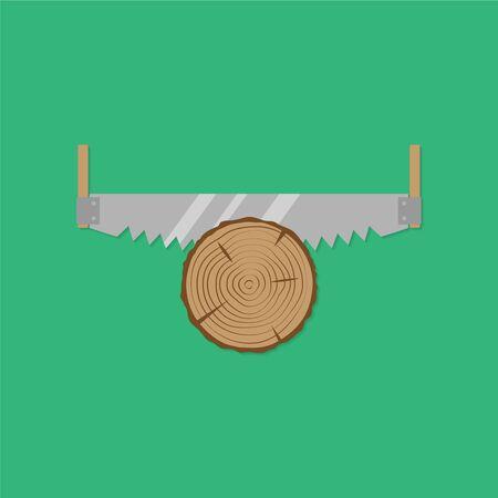 crosscut: Cross cut saw. Flat design style. Vector illustration