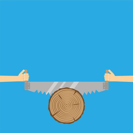 crosscut: Two-man crosscut saw. Flat design style. Vector illustration