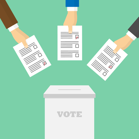 voter registration: Voting concept in flat style. Voters throw ballots in the ballot box