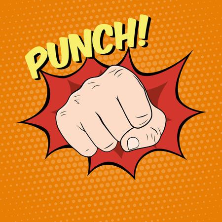 Fist hitting, fist punching in pop art style. Vector illustration