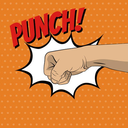 domination: Fist punching in pop art style. Vector illustration
