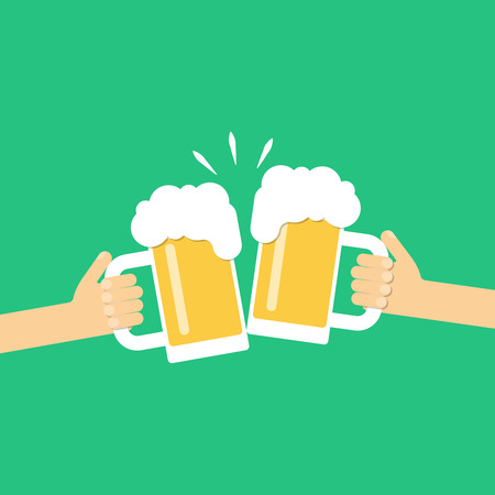 clinking: Two hands holding beer glasses, beer glasses clinking. Flat design vector illustration Illustration