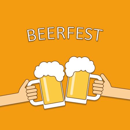 clinking: Beer festival logo. Two hands holding beer glasses, beer glasses clinking. Flat design vector illustration