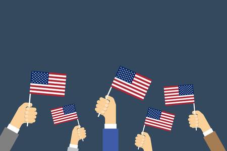 banderas america: Hands Holding Up American Flags. Vector background