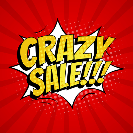 Crazy sale banner template design. Pop art comic style. 版權商用圖片