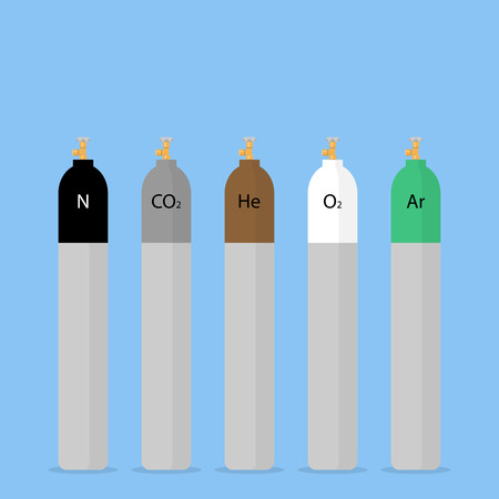 argon: Gas cylinders in different colors. Cylinders for compressed technical gases. Flat design style illustration Illustration