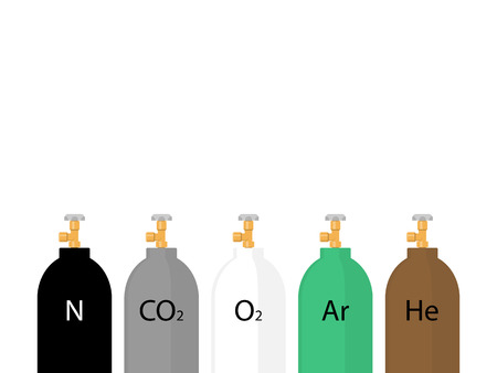 compressed gas cylinder: Gas cylinders in different colors. Flat design style illustration