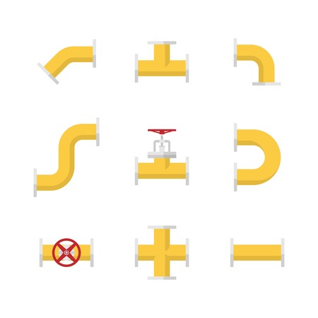 Pipes, fittings and valves. Construction pipeline. Set of icons Illustration