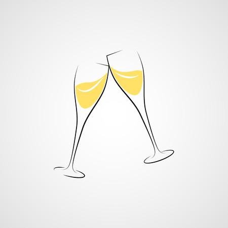 À votre santé! Deux verres de champagne. Vecteurs