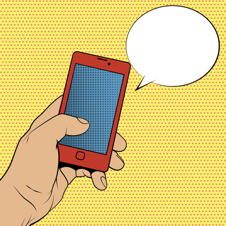 Smartphone in hand and blank speech bubble