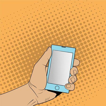 smartphone hand: Smartphone in hand. Pop art style illustration