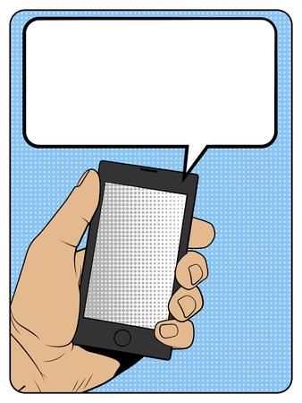 smartphone hand: Smartphone in hand, comic style illustration