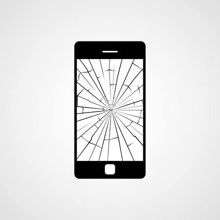 screen: Broken smartphone screen. Vector icon