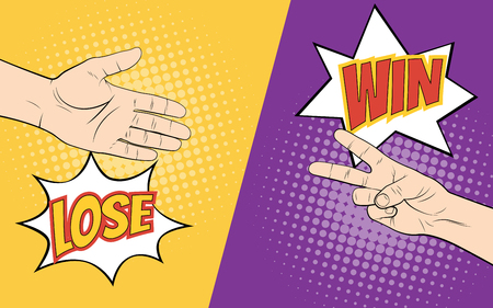 Rock paper scissors hand game. Pop art style vector
