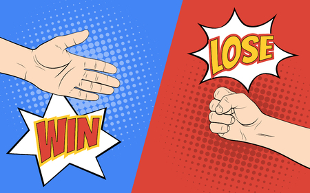 Rock paper scissors hand game. Pop art style vector 免版税图像 - 72172696