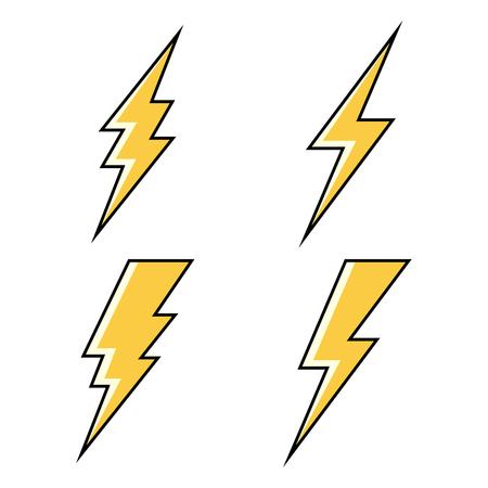 Conjunto de iconos de relámpago. Ilustración vectorial
