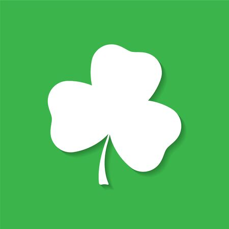 threeleaf: Clover leaf white silhouette with shadow. Vector illustration Illustration