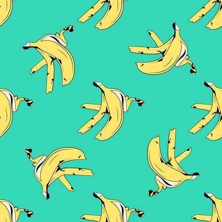 Banana skin seamless pattern pop art style.