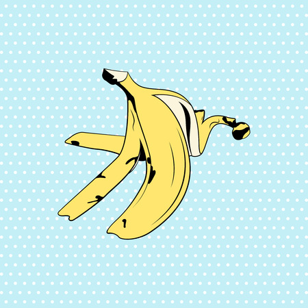 Banana skin illustration in pop art style