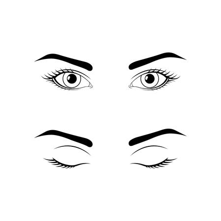Geopende en gesloten vrouwelijke ogen Vector Illustratie