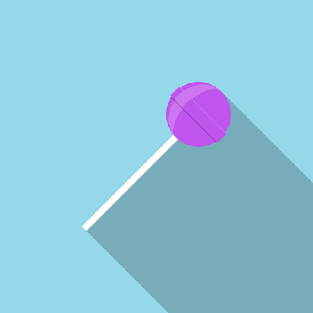 Lollipop with long shadow illustration in flat style. Vector