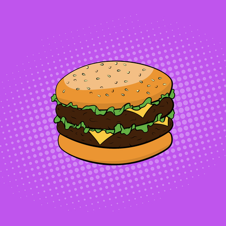 Fast food. Burger comic style. Pop art vector illustration Illustration