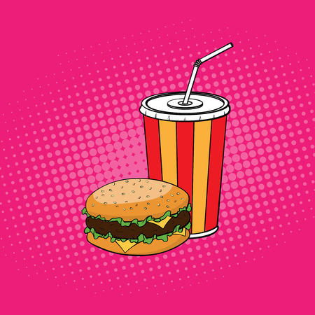 Burger with paper cup of cola illustration in pop art style. Vec
