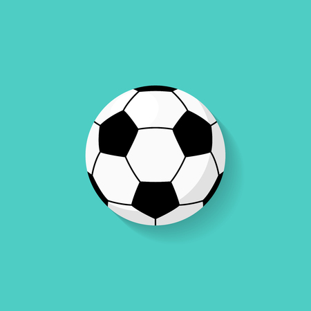 Soccer ball icon in flat style. Vector Vettoriali