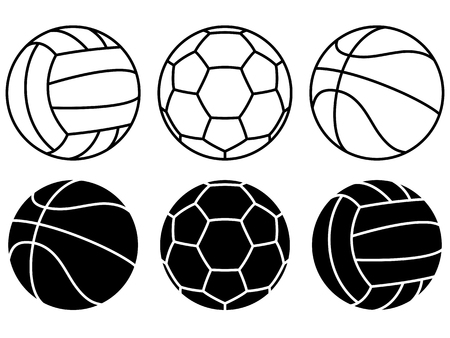 Set of different Sport balls on white background. Vector icons.