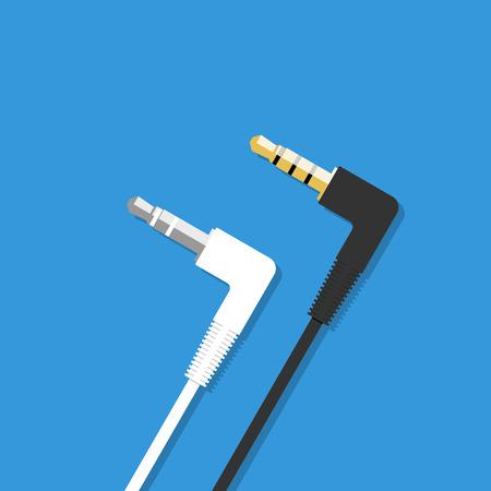 interconnect: Mini jack 3.5mm audio plug. Flat design style