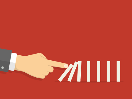 Domino effect. Man hand pushing the domino. Flat design style Illusztráció