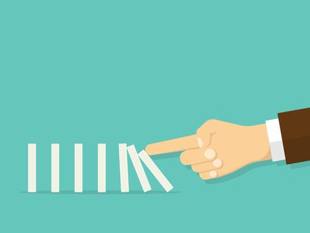 Domino effect. Man hand pushing the domino. Flat design style Vettoriali