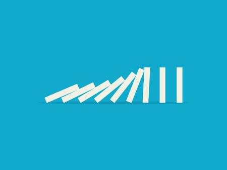 青色の背景に下落ドミノ。フラットなデザイン スタイル