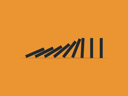 Falling dominoes. Flat design style. Vector