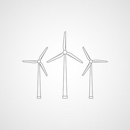 Wind turbines. Vector illustration