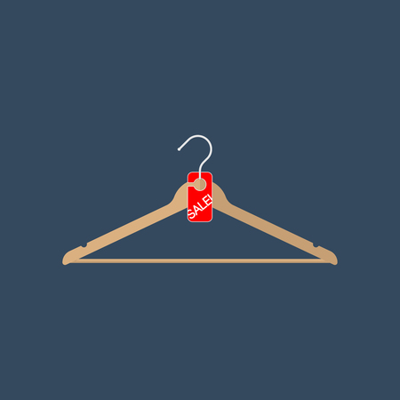 Clothes hanger with sale tag. Illustration in flat style