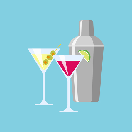 Shaker and glasses with cocktails. Illustration of a flat design Illustration