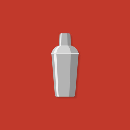 Cocktail shaker. Illustration flat design style. Vettoriali