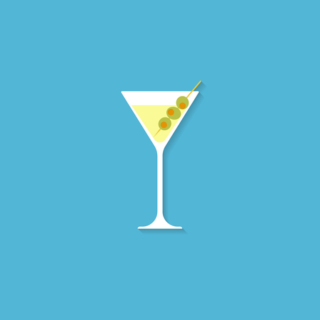 A glass for a martini. Illustration in flat style