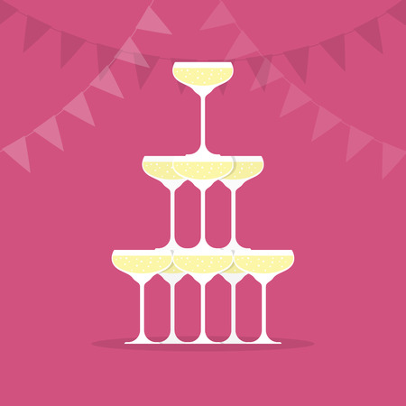 Pyramid from glasses of champagne vector illustration in flat style