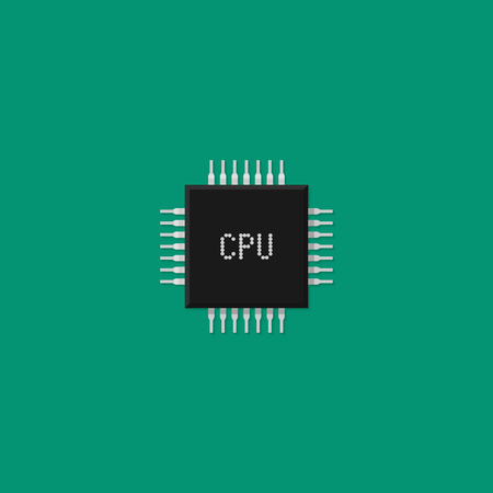 Computer processor. CPU icon. Vector illustration in flat style
